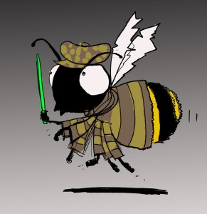 Cartoon drawing of boy bee with his jedi knight saber