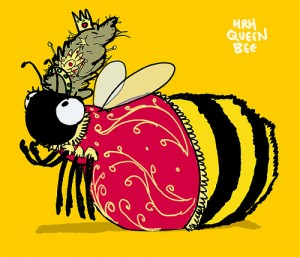 Cartoon drawing of Queen Bee in her robes and crown. She is large and plump.