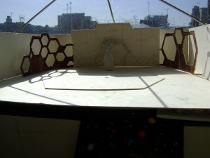 Set design model with honeycombs including honey comb shaped screens