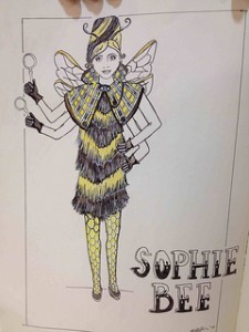 Sophie Bee, detective in a yellow/black tassle dress, cape and wings.